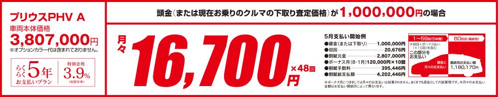 プリウスPHV A 月々16,700円
